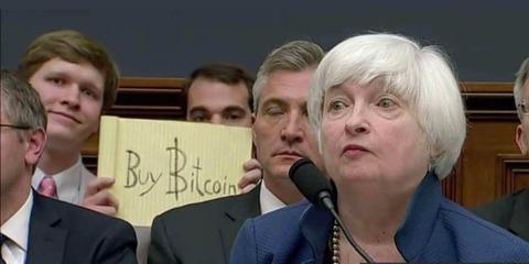 【仮想通貨】「Buy Bitcoin」イエレン議長の提言中に珍事